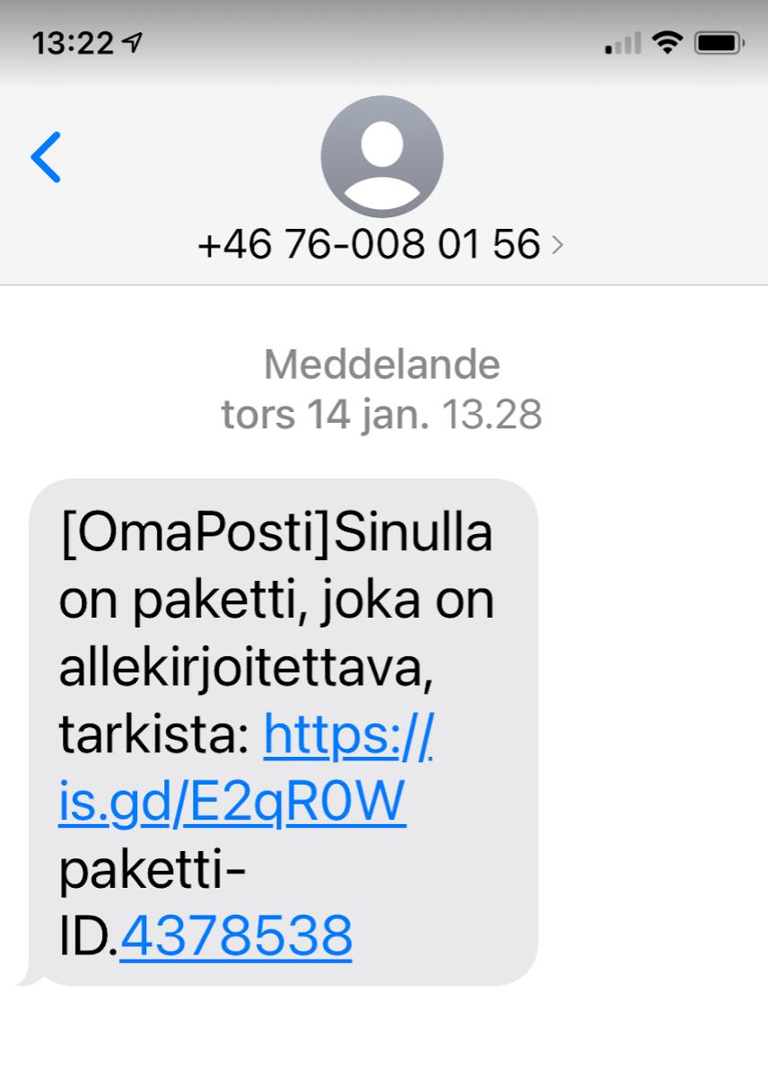 Textmeddelande från en utländsk nummer (+46) med texten OmaPosti Sinulla on paketti, joka on allekirjoitettava, tarkista https://is.gd/E2qR0W paketti-ID.4378538